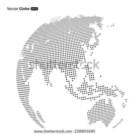 Vector abstract dotted globe, Central heating views over East Asia