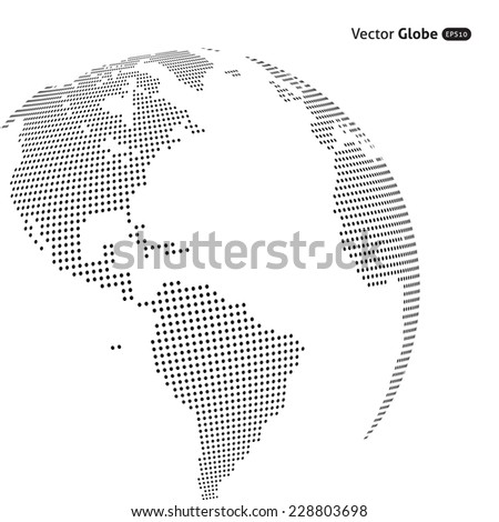 Vector abstract dotted globe, Central heating views over North and South America
