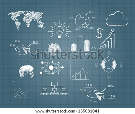 vector abstract drawing plan strategy success on grid paper