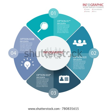 Vector abstract element infographics 4 option. Design for business or finance template layout, brochure, workflow, information or presentation and other. Can add infodata and icon. Abstract 3D vector.