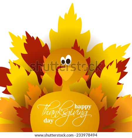 vector abstract elements on autumn holiday Thanksgiving, turkey, turkey yellow leaves