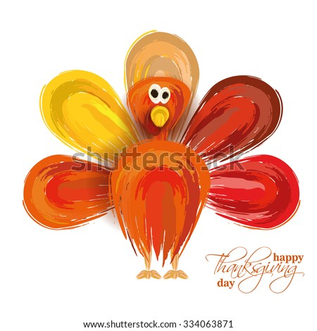 vector abstract elements on autumn holiday Thanksgiving, turkey, turkey yellow leaves,  graphic design illustration on the feast day of Thanksgiving, in the style of a watercolor painting hand-drawn