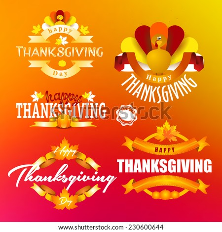 vector abstract elements on autumn holiday Thanksgiving, turkey, turkey yellow leaves set label that badge