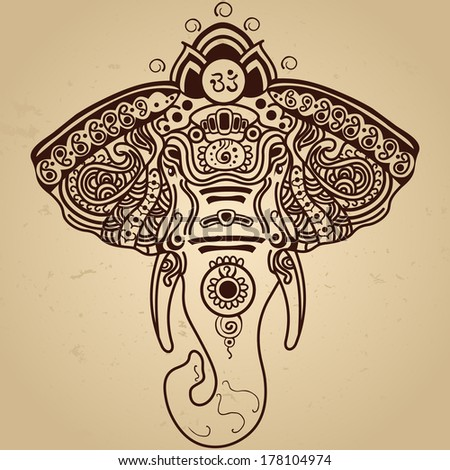 Henna Elephant Coloring Pages Vector Abstract Elephant in