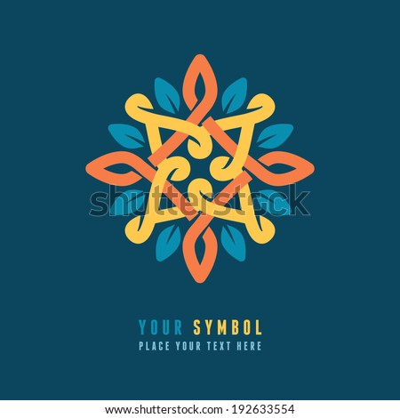 Vector abstract emblem - outline monogram - flower symbol - concept for organic shop or yoga studio - logo design template