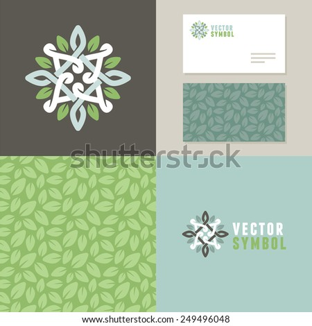 Vector abstract emblem - outline monogram - flower symbol - set of design elements for organic shop or yoga studio - logo, pattern and card templates