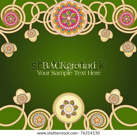 vector abstract ethnic patterns with a green background