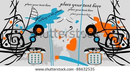 vector abstract family conversation, two persons and telephone, background for text