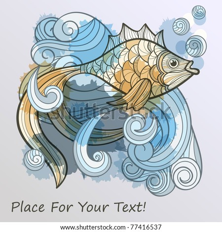 vector abstract fish on splash of water and bubbles, eps10, place for your text!