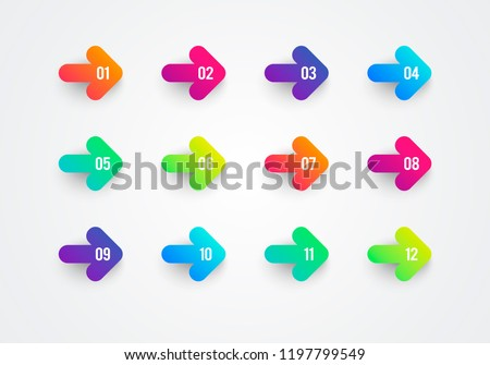 Vector Abstract Flat Colorful Gradient Arrow Bullet Point Numbers 1 to 12