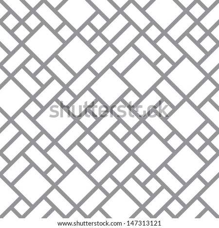Vector abstract floor geometric blocks background - seamless halftone back and white diagonal primitive pattern