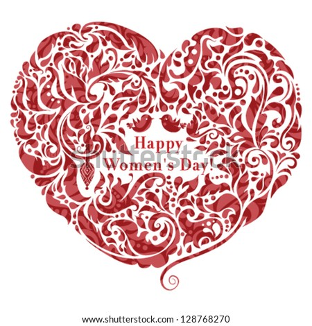 Vector abstract floral heart icon. Creative women's day design element. Love concept.