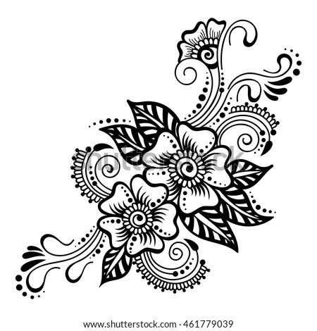 Royalty Free Set Of Mehndi Flower Pattern For Henna 344663222