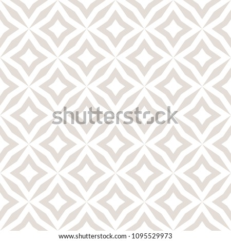 Vector abstract floral seamless pattern. Subtle white and beige background. Simple geometric ornament. Delicate graphic texture with diamond shapes, stars, rhombuses, square grid. Decorative design
