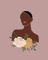 Vector abstract floral women portraits. International Women's Day. Minimalistic style with beautiful, confident black woman and bouquets. Perfect for interior design, page decoration, web and other