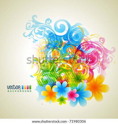 vector abstract flower colorful background - stock vector