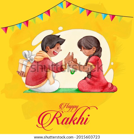 Vector abstract for Raksha Bandhan with nice illustration in a creative background, Beautiful background with illustration of cute little sister and brother with gift preparing for Rakhi. HAPPY RAKHI
