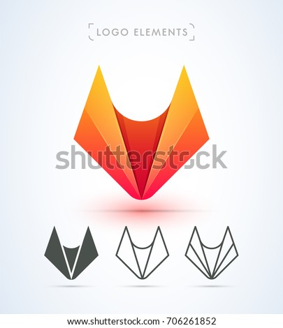 Vector abstract fox logo. Material design origami style