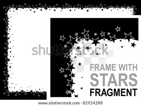 Vector abstract frame with stars. All white areas are cut away and black areas merged.