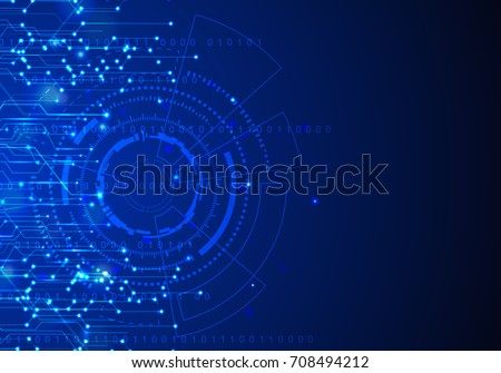 Vector Abstract futuristic circuit board. Global Network, computer technology dark blue color background , technology concept. Vector illustration