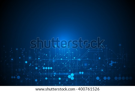Vector Abstract futuristic circuit board, Illustration high computer technology dark blue color background. Hi-tech digital technology concept