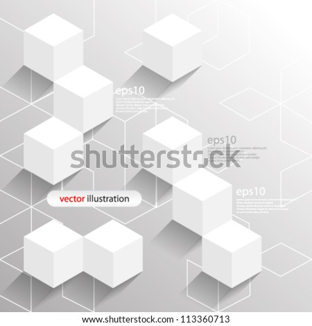 Vector abstract futuristic 3D cube / Geometrical concept illustration - eps10