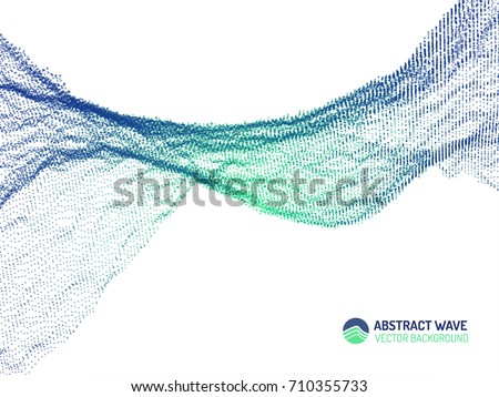 Vector abstract futuristic digital illustration. Wavy Background. Computer geometric digital connection structure. Futuristic blue abstract grid. Intelligence artificial