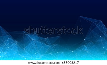 Vector abstract futuristic digital landscape with particles dots and stars on horizon. computer geometric digital connection structure. Futuristic blue abstract grid. Intelligence artificial
