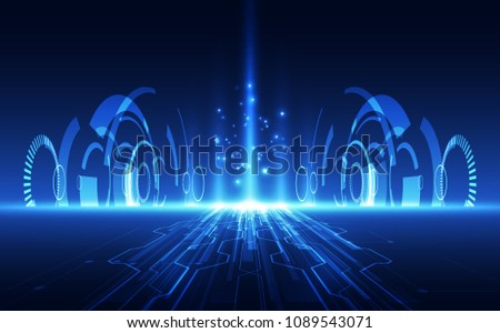 Vector Abstract futuristic high speed, Illustration high digital technology blue color background concept