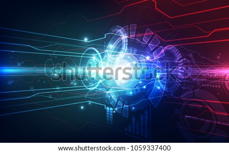 Vector Abstract. futuristic high speed lens photographic technology innovation. Illustration high digital technology blue color