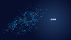 Vector abstract futuristic image of artificial intelligence connectivity. Low poly mesh looks like stars or space. AI technology, network, big data analysis concept with lines, dots and blue particles