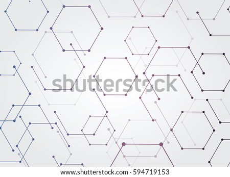 Vector Abstract futuristic. Molecule technology on light gray background  hi-tech digital technology concept. Blank white paper polygon label with space for your content  business  network  web design #594719153