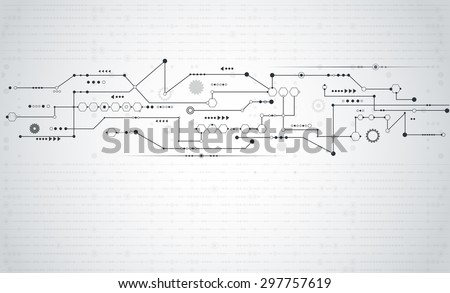 vector abstract futuristic stripe line circuit board pattern with gear wheel and arrow symbol