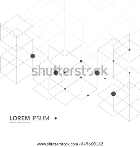Vector Abstract Geometric Background. Fantasy of Hexagons. #649660162