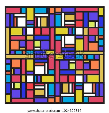 Vector abstract geometric colorful background. Memphis, indian, Brazilian and Mexican pattern. #1024327519