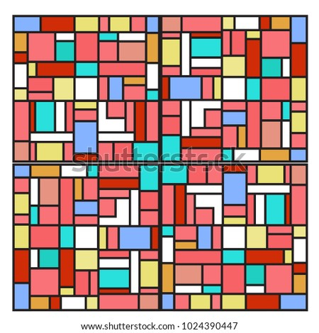 Vector abstract geometric colorful background. Memphis, indian, Brazilian and Mexican pattern. #1024390447