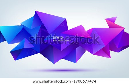 Vector abstract geometric 3d facet shape isolated. Use for banners, web, brochure, ad, poster, etc. Low poly modern style background. Purple, pink Zdjęcia stock ©