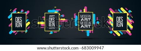 Vector abstract geometric dynamic pattern frame.  frame for text Modern Art graphics for hipsters. element for design business cards, invitations, gift cards, flyers and brochures