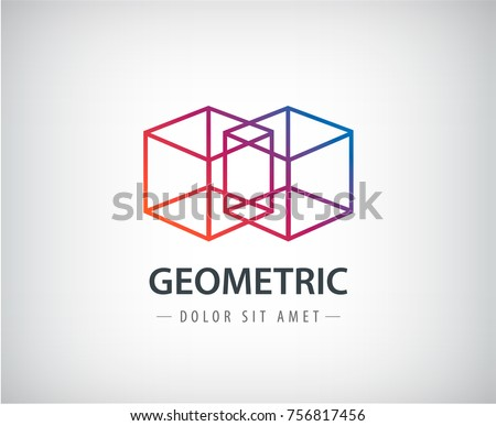 Vector abstract geometric linear logo, two cubes, one line. Futuristic company icon