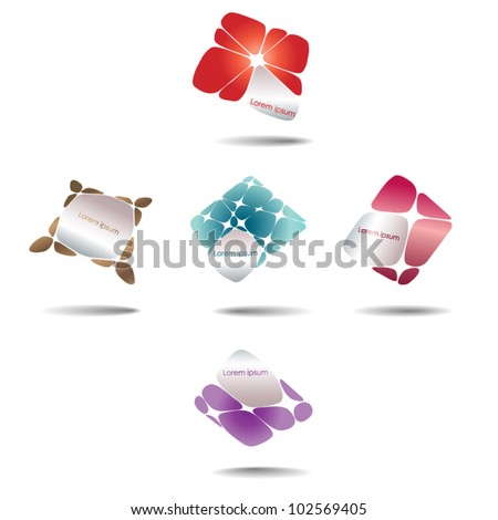 Vector abstract geometric logo elements - set