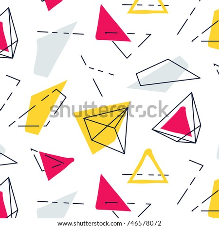 Vector abstract geometric pattern. Fashion graphic hipster innovation texture.Funky  90s trendy memphis decoration. Minimal template web elements.