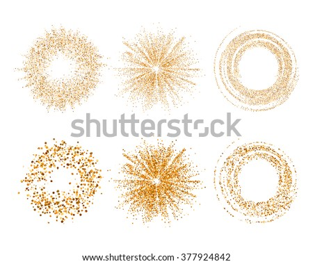 Vector abstract glitter background with golden texture. Gold glitter ring, gold star, loop set. Luxury gold glitter.