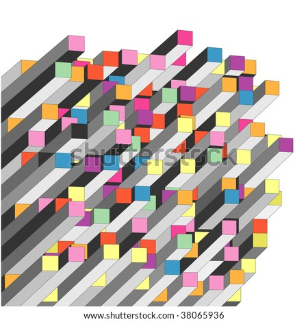 vector abstract graph with color parallelepipeds - stock vector
