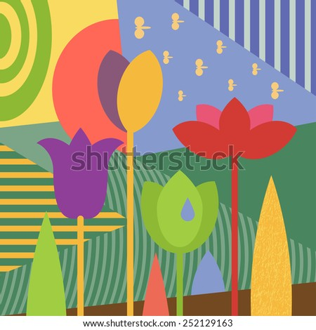 Vector abstract graphics stylized spring flowers tulips, multicolored flowerbed