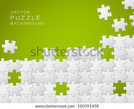 Vector Abstract green background made from white puzzle pieces and place for your content