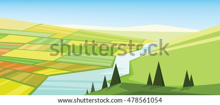vector abstract green landscape