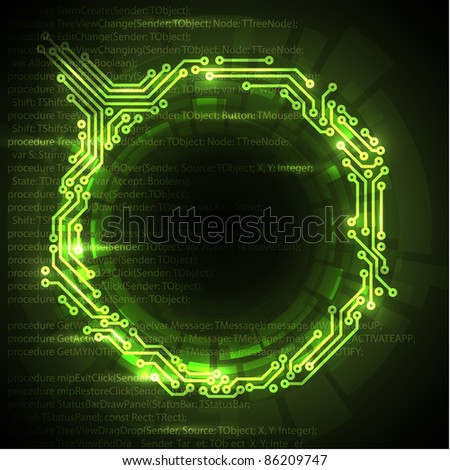 Vector Abstract green technical background with place for your text