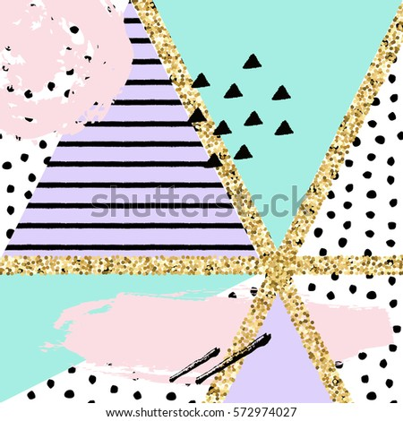 Vector abstract hand drawn pattern with geometric and brush painted elements. Textured background with gold glitter and pastel colors. Poster, card, textile, wallpaper template.