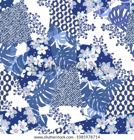 Vector abstract hand drawn seamless patchwork pattern with floral ornaments, stylized flowers, dots, plants and lace. Patchwork sewing