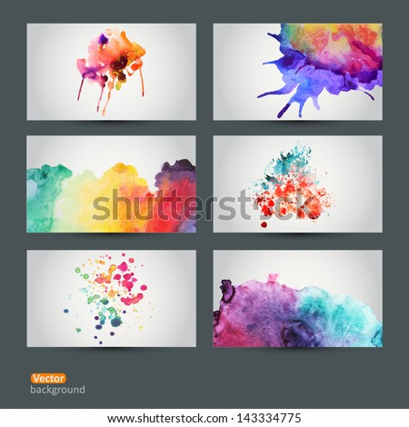 Vector abstract hand drawn set of six watercolor background,vector illustration, stain watercolors colors wet on wet paper. Watercolor composition for scrapbook elements